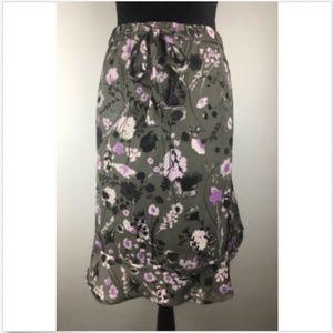 Joe Fresh Flounced Floral Skirt Ruffle Hem Elastic